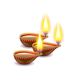 Diwali candles isolated on white vector image