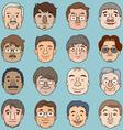 Men faces set asia face collection vector image