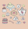 tea party set cute design elements vector image