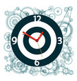 Clock face symbol with cogs on background vector image