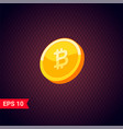 3d golden coins with bitcoin sign vector image