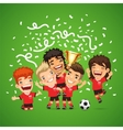 Happy Soccer champions with winners cup vector image