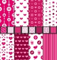 Set seamless backgrounds Valentine Day pattern vector image vector image