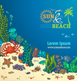 Summer cartoon marine life background vector image