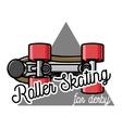 Color vintage roller Skates emblem vector image