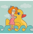 Concept background female swimming ribbon duck vector image