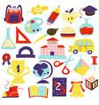 schcool accessories symbols icons set vector image