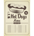 hot dog menu vector image