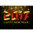 Happy New Year 2017 Gold with red volumetric vector image