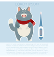 Ill cat and its thermometer vector image