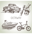 Hand drawn sketch set of family vacation vector image vector image