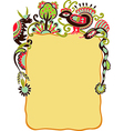 hand draw ornate frame with animals and bird vector image