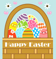 happy easter background card with basket vector image