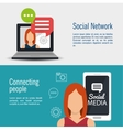social media network connected people banner vector image
