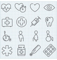 thin line medicine icons set vector image