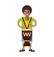 Man playing Djembe African music Flat vector image