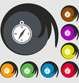 compass icon sign Symbols on eight colored buttons vector image