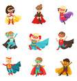 superhero girls and boys set kids in superhero vector image