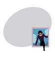 thief burglar in black disguise breaking into vector image vector image
