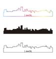 Leeds skyline linear style with rainbow vector image