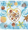 Sea love heart vector image vector image