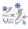 Vintage watercolor ice skates vector image