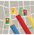 Hands hold smarthphone with gps map vector image