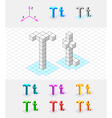 Isometric font from the cubes Letter T vector image vector image