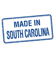 made in South Carolina blue square isolated stamp vector image