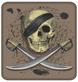 Pirate skull with swords vector image