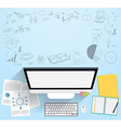 Realistic workplace organization Top view vector image