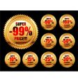 set of golden sale tags vector image