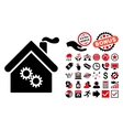 Factory Building Flat Icon with Bonus vector image