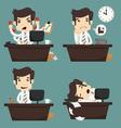 Set of businessman sitting on desk office worker vector image