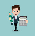 accountant with a calculator and pencil vector image