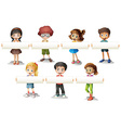 Boys and girls holding banner vector image