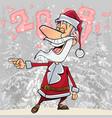 cartoon funny santa claus laughs pointing vector image