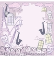 Background with music saxophone and cat vector image vector image