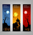 Halloween night banner with pumpkins template vector image