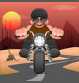 biker riding a motorcycle drawn in hand made style vector image