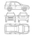 Car truck suv 4x4 line draw rent damage vector image