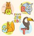 Funny zoo animals kids alphabet Hand drawn ink vector image