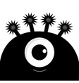 monster head silhouette with one eye black color vector image