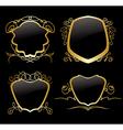 set of golden frames on vintage decorations vector image