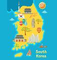 south korea map design korean traditional symbols vector image
