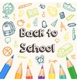 Back to School background with hand drawn doodle vector image