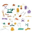 Hand drawn color set of sewing tools vector image