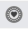 Casino chip with hearts icon vector image