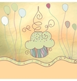 Vintage card with cupcake  EPS8 vector image vector image