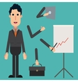 happy businessman with a set of arms tablet vector image